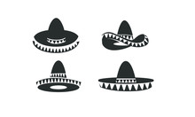 Set Of Sombrero Hat Black Logo...