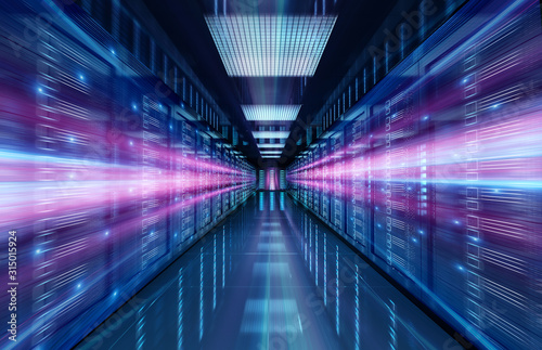 Fotografía Servers data center room with bright speed light through the corridor 3D renderi