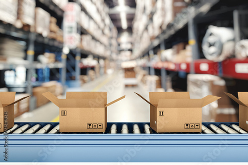 Fotografiet Cardboard boxes on conveyor rollers inside a warehouse ready to be shipped by co