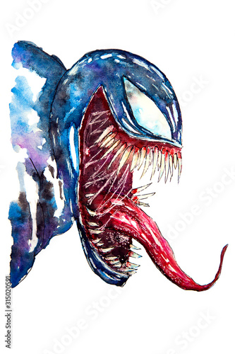 Venom (principal character of Movie VENOM) isolated on white background