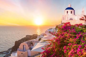Obraz na Szkle Architektura Landscape with amazing sunset in Santorini islands, Greece