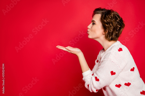 Profile side photo of charming cunning lovely girl hold hand send air kiss to he Tableau sur Toile