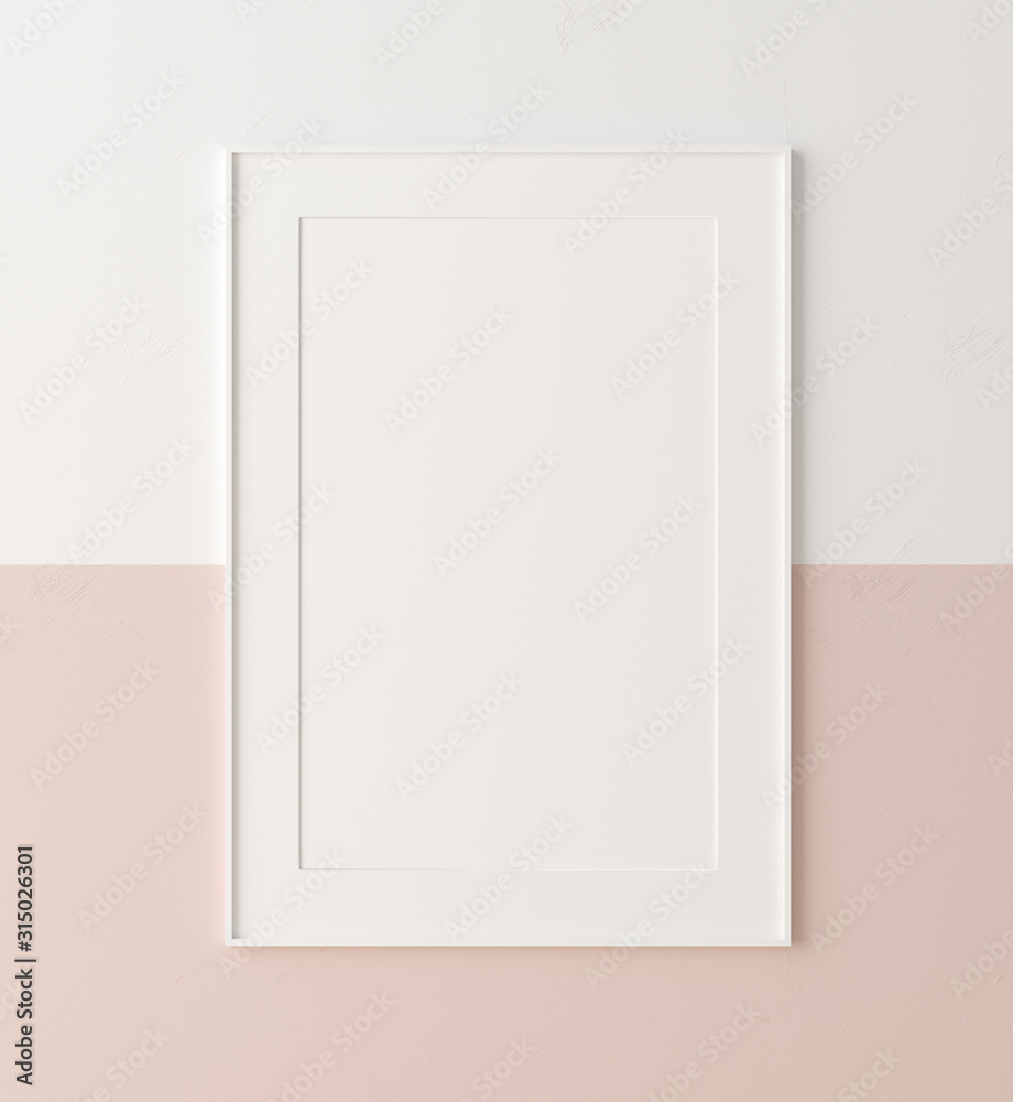 Fototapeta Mockup poster  frame close up on wall painted white and pastel pink color, 3d render