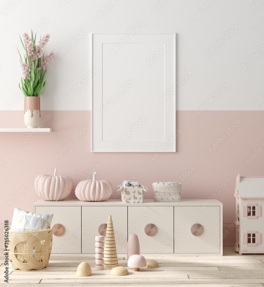 Fototapeta Mock up poster in children bedroom interior background, Scandinavian style, 3D render