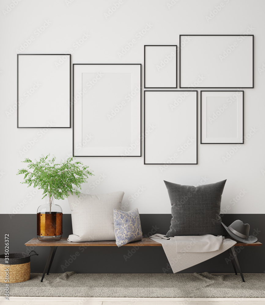 Fototapeta Mock up poster frame in interior with wooden bench, branch in vase and pillows, 3D render