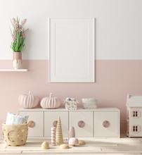 Mock Up Poster In Children Bedroom Interior Background, Scandinavian Style, 3D Render