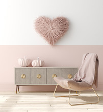 Romantic Interior In Pastel Pi...