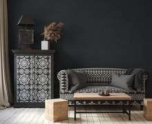 Dark Home Interior, Ethnic Sty...