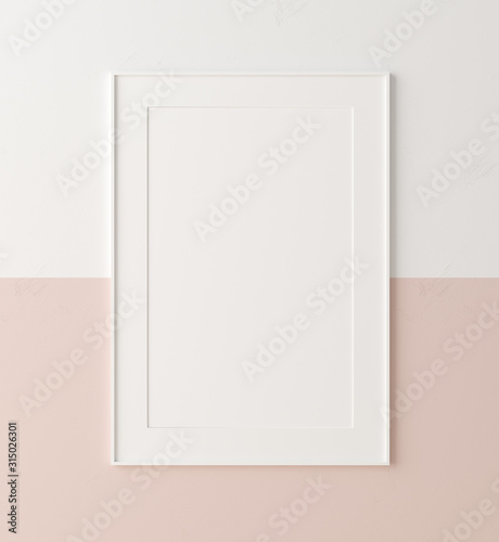 Fototapeta Mockup poster  frame close up on wall painted white and pastel pink color, 3d render obraz