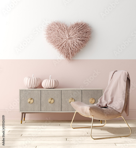 Fototapeta Romantic interior in pastel pink color decorated with pink pumpkins and heart, 3d render obraz