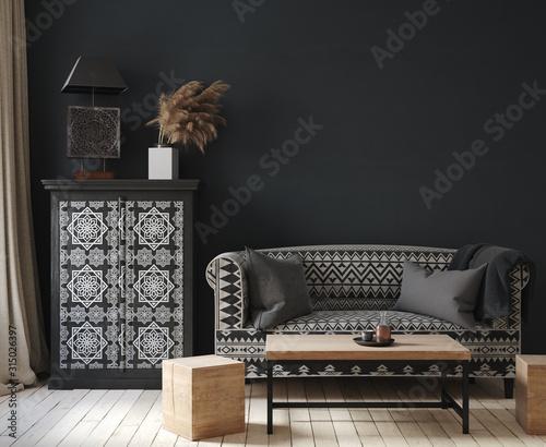 Obraz Dark home interior, ethnic style  living room,  3d render - fototapety do salonu