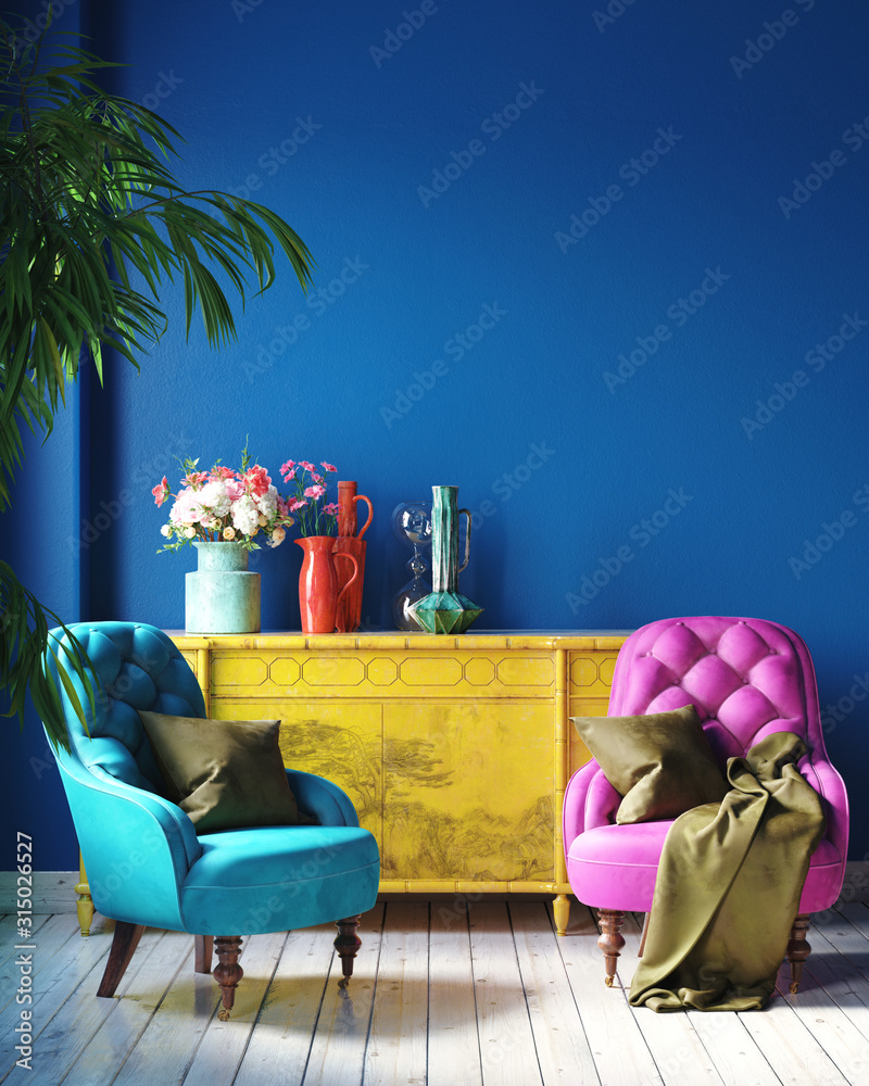 Fototapeta Dark colorful home interior with retro furniture, Mexican style living room, 3d render