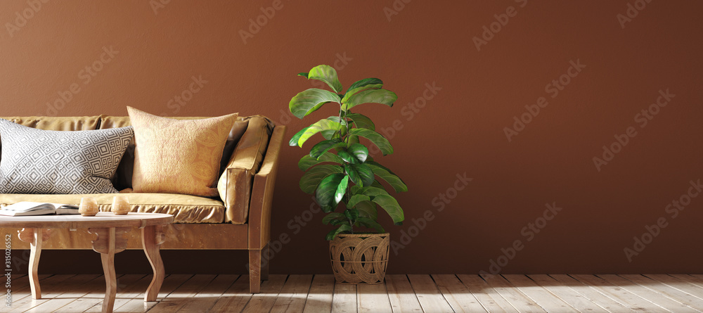 Fototapeta Modern interior in terracotta color  with leather sofa, rattan armchairs and flower, 3d render