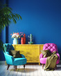 Dark colorful home interior with retro furniture, Mexican style living room, 3d render