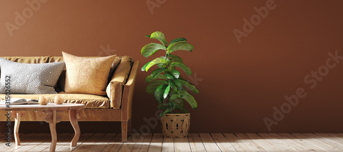 Fototapeta Modern interior in terracotta color  with leather sofa, rattan armchairs and flower, 3d render obraz