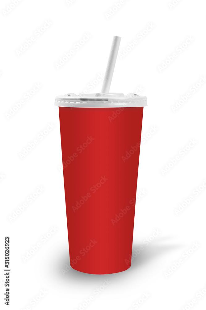 Fototapeta verre de fast food rouge avec paille en carton