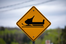 Warning Sign Of A Snowmobile