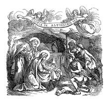 Vintage Drawing Or Engraving Of Biblical Story Of Shepherds Visiting Newborn Jesus, Virgin Mary And Joseph In Bethlehem.Bible, New Testament,Luke 2. Biblische Geschichte , Germany 1859.