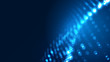 Dot blue wave light screen gradient texture background. Abstract technology big data digital background. 3d rendering.