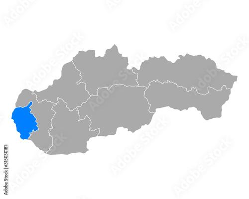 Fototapeta Karte von Bratislavsky kraj in Slowakei obraz