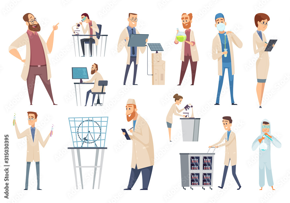 Fototapeta Science persons. Characters doctors lab technician workers biologists or pharmacists vector people. Illustration scientist biology, man in lab, technician and chemistry
