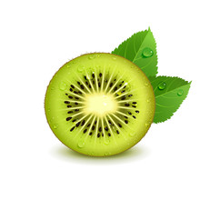 Juicy Kiwi Fruit With Green Le...