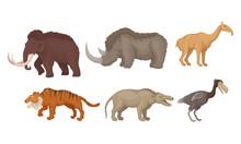 Prehistoric Animals Isolated On White Background Vector Set