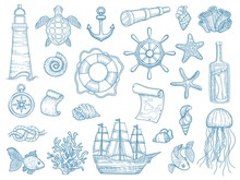 Nautical Collection. Sailing Boats Hand Drawn Marine Set Fishes Vessel Vector Set. Ship Marine, Sea Vessel, Collection Elements Lighthouse, Anchor Illustration
