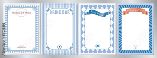 Obraz Blue classic, retro, vintage restaurant menu templates - A4 format (210x297 mm) - fototapety do salonu