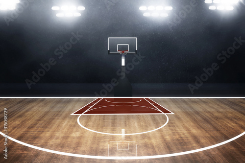 Photo Professional basketball court arena background