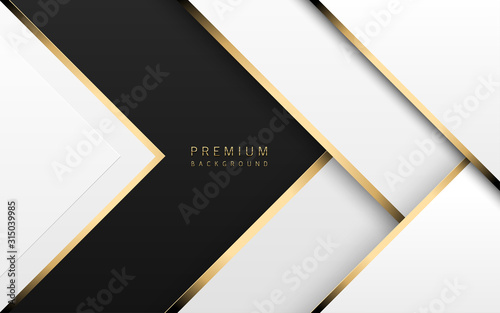 Fototapeta Vector luxury tech background. Stack of white paper material layer with gold stripe. Arrow shape premium wallpaper with black backdrop obraz