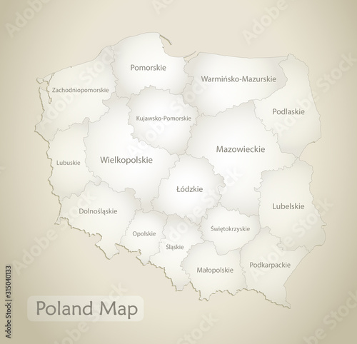 Poland map, administrative division with names, old paper background vector Wallpaper Mural