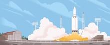 Spaceship Start Cartoon Vector...