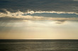 Nature seascape of Tranquil scene Light passing through the clouds on sunset over the ocean at phuket Thailand. Blue nature backdrop background with copy space text concept