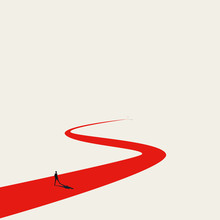 Business Goal Or Objective Vector Concept With Businessman Walking Winding Path. Symbol Of Ambition, Motivation.