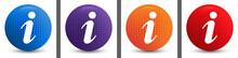 Info Icon Abstract Halftone Round Button Set