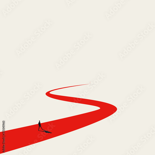 Fototapeta Business goal or objective vector concept with businessman walking winding path