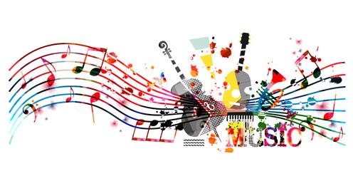 Šareni glazbeni promotivni plakat s glazbenim instrumentima i notama izoliranim vektorskim ilustracijama. Umjetnička apstraktna podloga za glazbenu emisiju, koncerte uživo, predložak za dizajn flajera