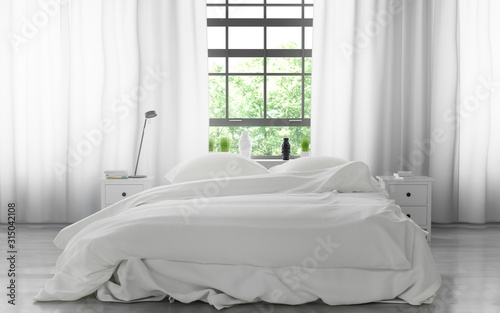 Bed with soft clean white linen and pillows #315042108