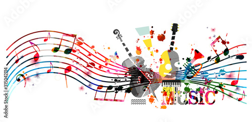 Fototapety muzyka  colorful-music-promotional-poster-with-music-instruments-and-notes-isolated-vector-illustration-artistic-abstract-background-for-music-show-live-concert-events-party-flyer-design-template