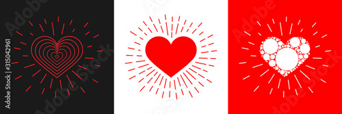 Fototapeta Vector hearts set. Heart with rays. Valentine's day. Vector heart. Icon. obraz