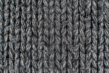 Texture Of Gray Woolen Knitted Sweater Closeup, Macro