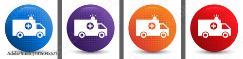 Photo Ambulance icon abstract halftone round button set