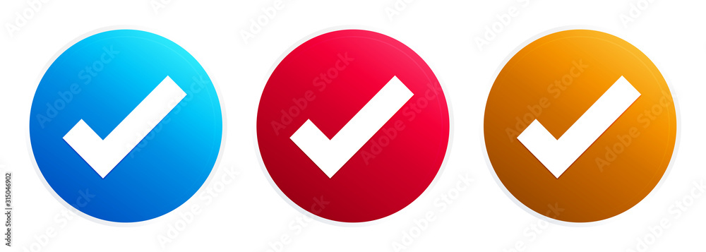 Fototapeta Tick mark icon premium trendy round button set