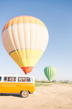 Yellow Camper Van With View On The Valley In Cappadocia