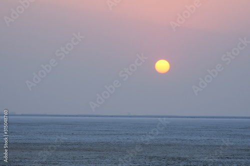 Sunset at the White dessert Dhordo, Kutch, Gujarat, India, use for background, sunset evening