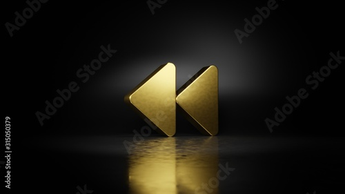 gold metal symbol of backward 3D rendering with blurry reflection on floor with Canvas Print