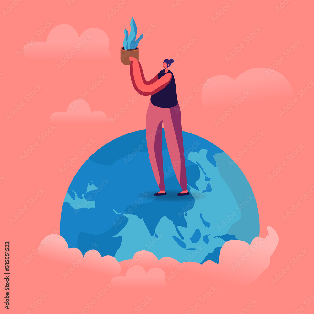Obraz Young Woman Stand on Earth Globe Holding Potted Plant in Hands. Save the Planet Concept. Problem of Global Warming and Nature Pollution. Volunteer Care of Environment Cartoon Flat Vector Illustration fototapeta, plakat