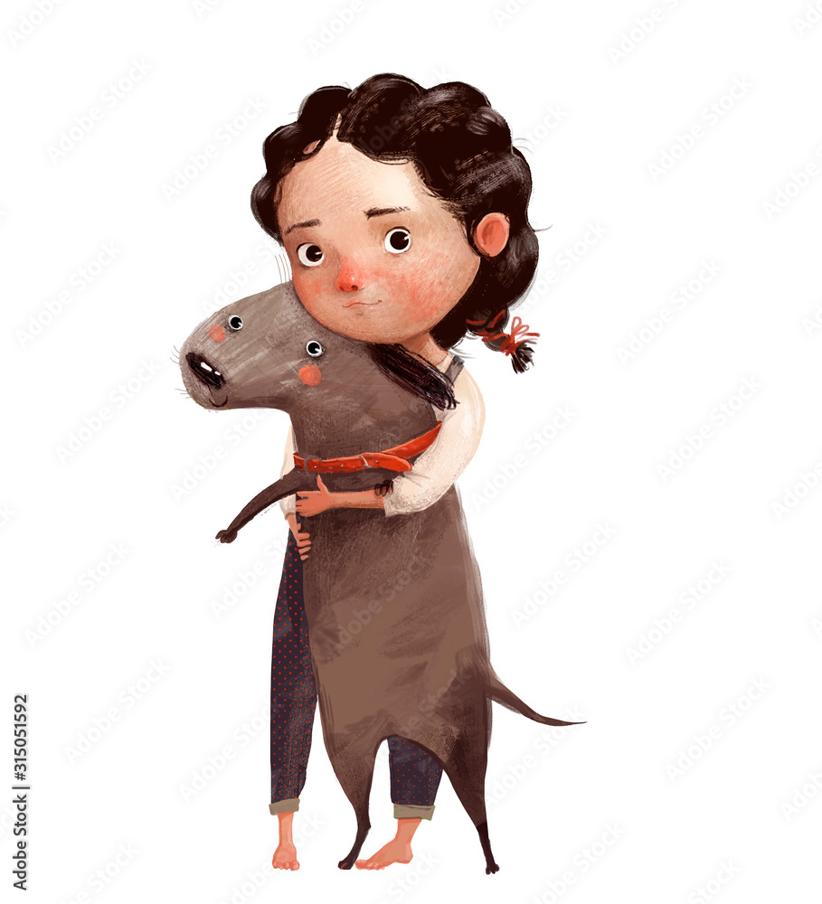 cute little girl with brown lovely dog <span>plik: #315051592 | autor: cofeee</span>