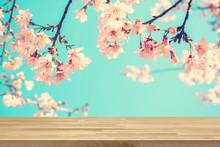 Wood Table Top On Blur Pink Ja...
